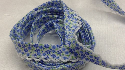 Blue Floral Double Fold Bias with Picot Edge