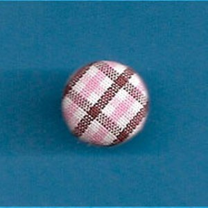 FHF-Brown/Pink Check Covered Button