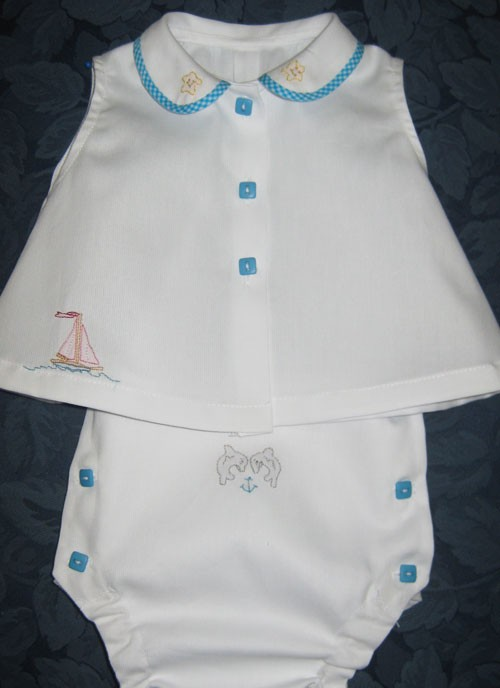 Infant Shirt & Diaper Cover in Pique
