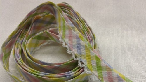 Double Fold Bias with Picot Edge Spring Plaid